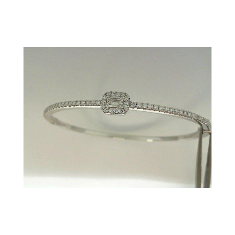 Natalie K 18K White Gold Forevermark Diamond Bangle Bracelet