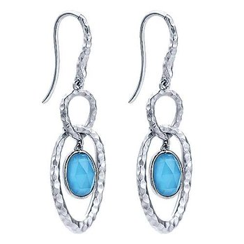 Sterling Silver Hammered Rock Crystal & Turquoise Drop Earrings