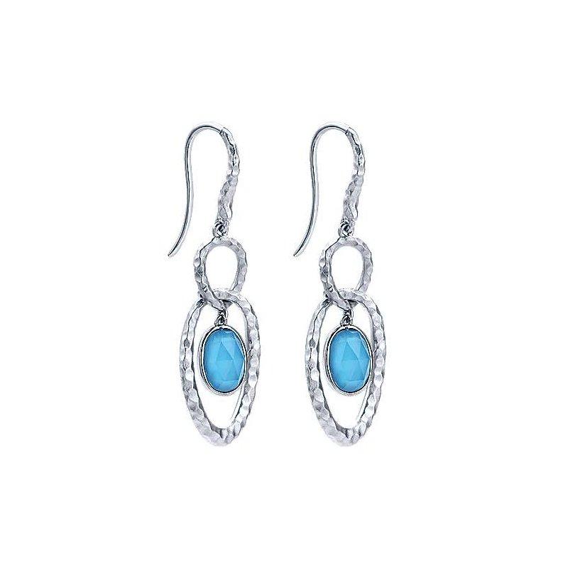 Gabriel Sterling Silver Hammered Rock Crystal & Turquoise Drop Earrings
