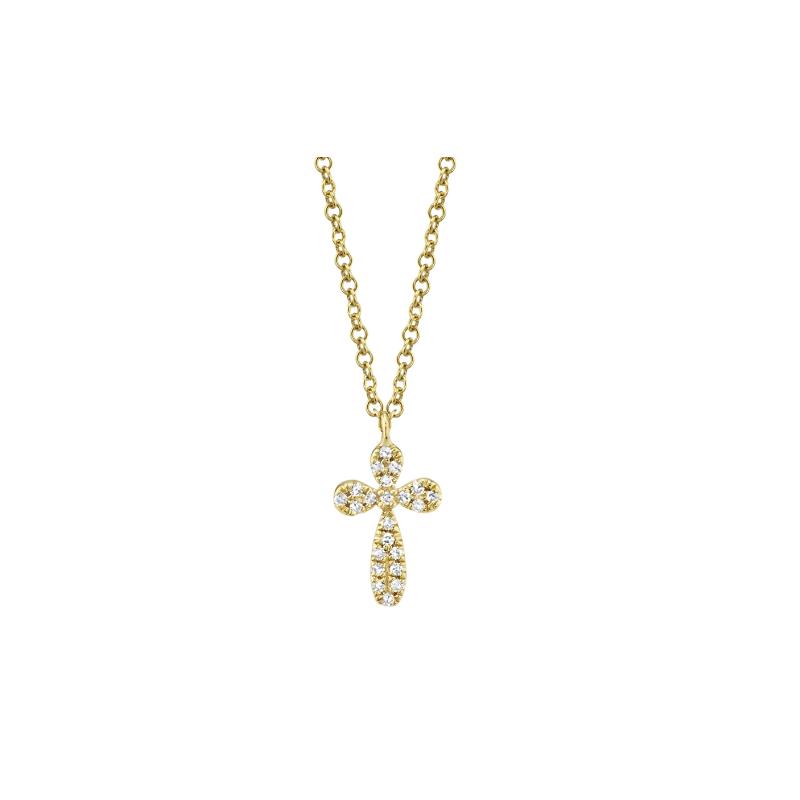 Shy 14K Yellow Gold Diamond Cross Necklace