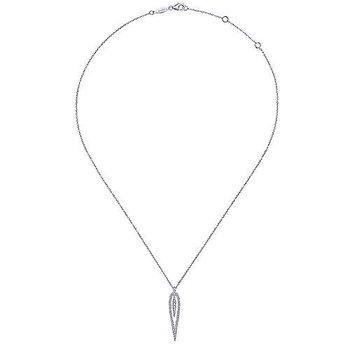 White Gold & Diamond Open Teardrop Pendant Necklace