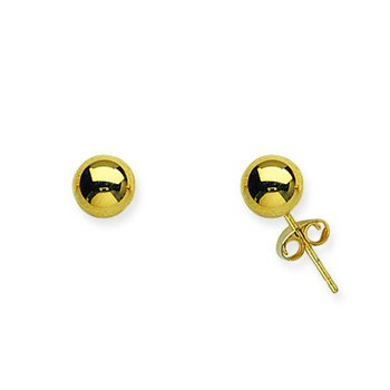 14K Yellow Gold Ball Post Earrings