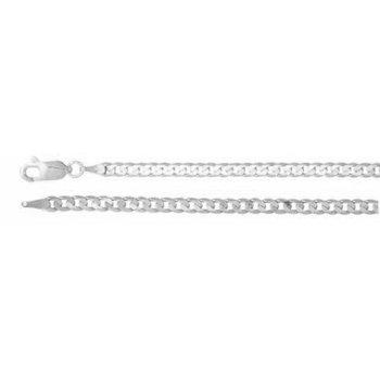 "7.25"" 14K White Gold Open Curb Chain Bracelet"