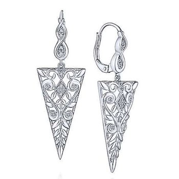 925 Sterling Silver Vintage inspired Triangle Earrings