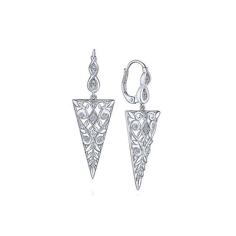 Gabriel 925 Sterling Silver Vintage inspired Triangle Earrings