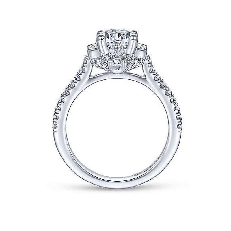 Gabriel Unique 14K White Gold Art Deco Halo Diamond Engagement Ring