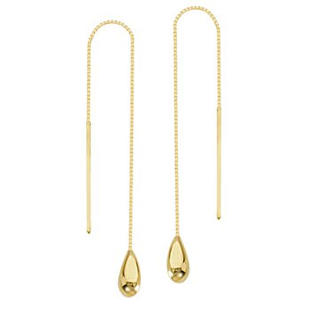 14K Yellow Gold Tear Drop Threader Earring