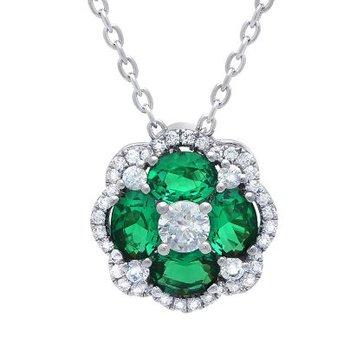 14K White Gold, Diamond, & Emerald Pendant