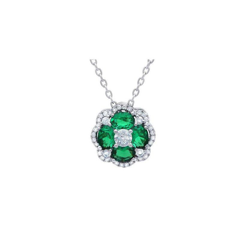 Fana 14K White Gold, Diamond, & Emerald Pendant