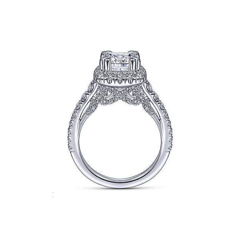 Gabriel Bridal 18K White Gold Cushion Halo Diamond Engagement Ring