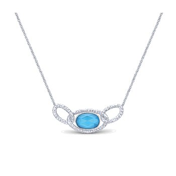 SS and Turquoise color stone chain link necklace NK4787SVJXT