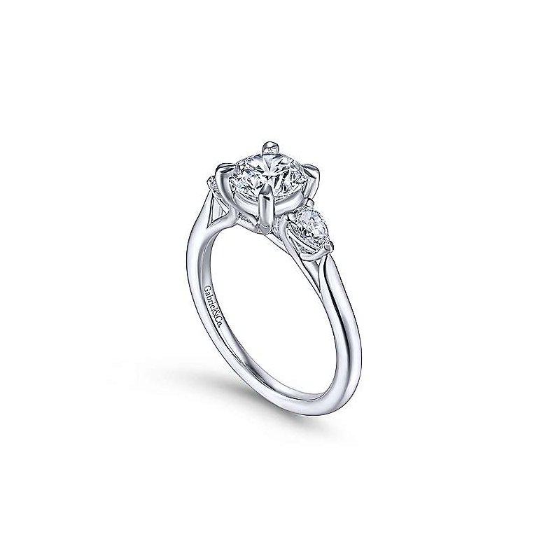 Gabriel 14K White Gold and Diamond Sunday Engagement Ring