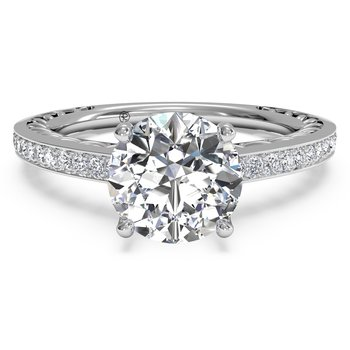 14K White Gold Diamond Engagement Ring 1R4170