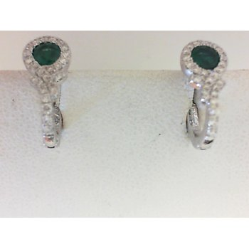 14K White Gold Modern Emerald & Diamond Earrings