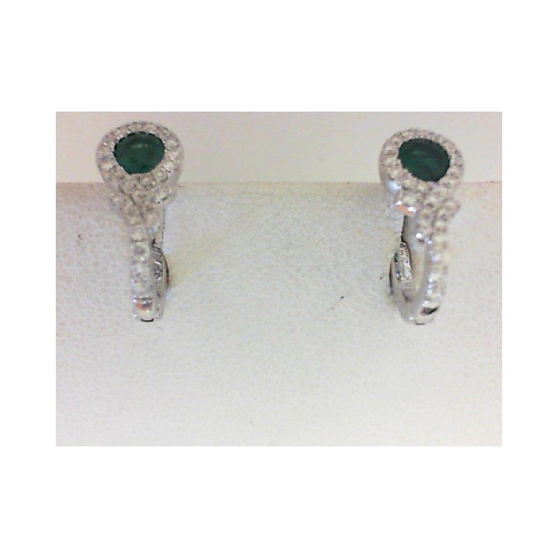 Fana 14K White Gold Modern Emerald & Diamond Earrings
