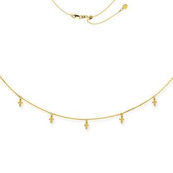 "16"" Adjustable Cross Choker Necklace"