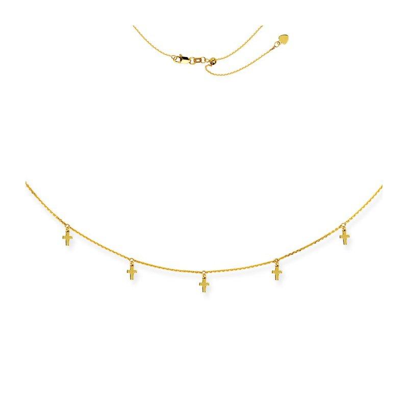 "Midas 16"" Adjustable Cross Choker Necklace"