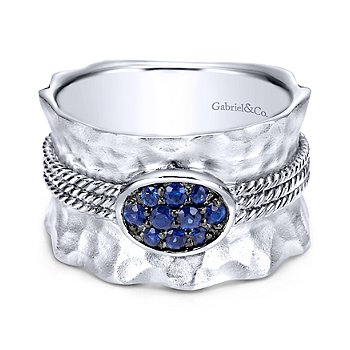 Sterling Silver & Blue Sapphire Fashion Ring LR50027SVJSA