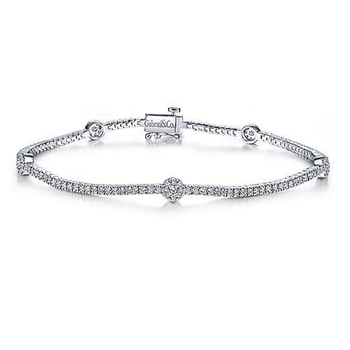 14K White Gold Round Diamond Cluster Tennis Bracelet