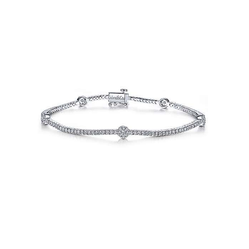 Gabriel 14K White Gold Round Diamond Cluster Tennis Bracelet