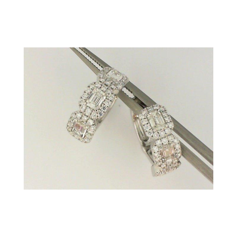 Natalie K 18K White Gold Forevermark Diamond Huggie Earrings