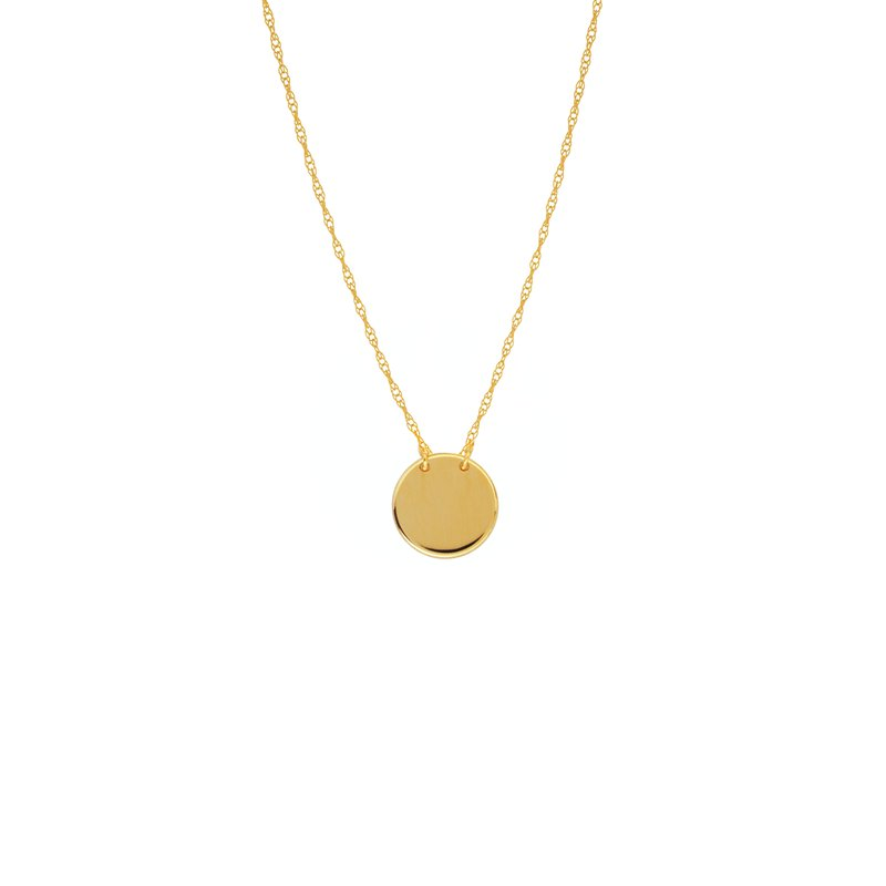 """18"""" 14K Yellow Gold Mini Round Disk Adjustable Necklace"""