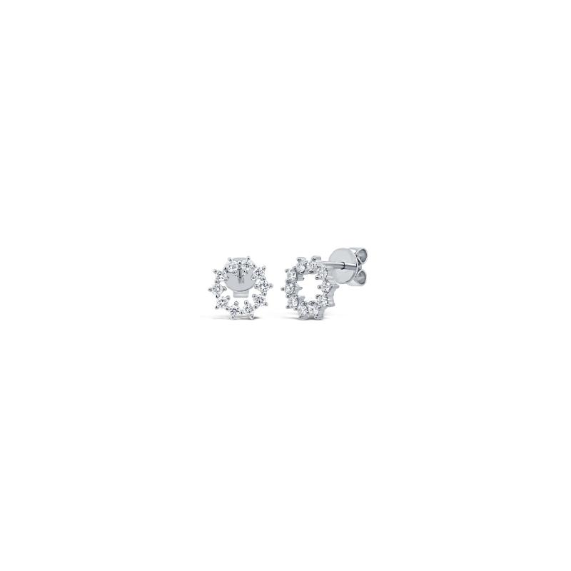 Shy 14K White Gold Diamond Stud Earrings