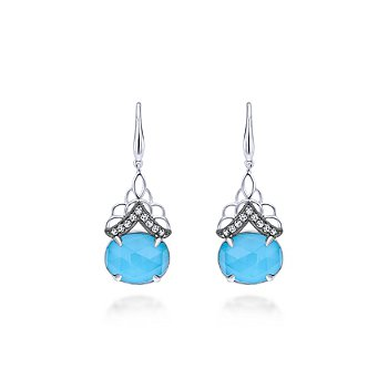 Sterling Silver Rock Crystal, Turquoise & White Sapphire Drop Earrings