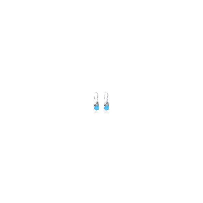 Gabriel Sterling Silver Rock Crystal, Turquoise & White Sapphire Drop Earrings