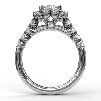 14K White Gold Diamond Engagement Ring S2589