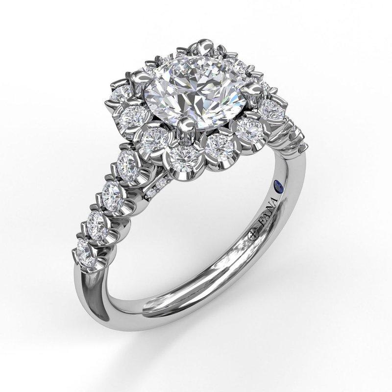 Fana 14K White Gold Diamond Engagement Ring S2589
