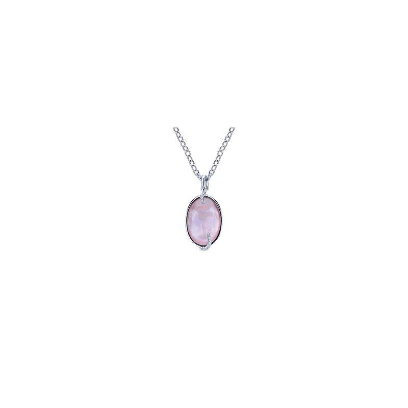 Gabriel Silver & Pink Stone Fashion Necklace