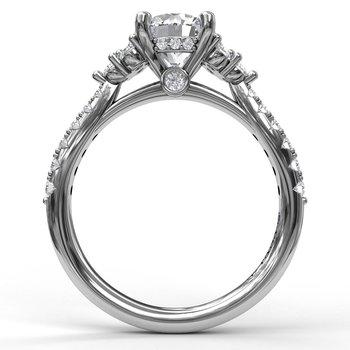 14K White Gold Diamond Engagement Ring S2374