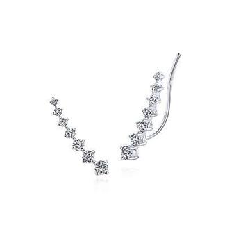14K White Gold Diamond Ear Climber Earrings EG13180W45JJ
