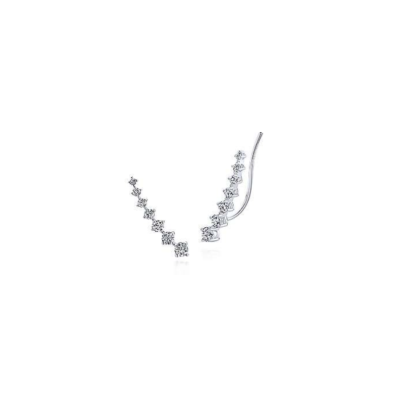 Gabriel 14K White Gold Diamond Ear Climber Earrings EG13180W45JJ