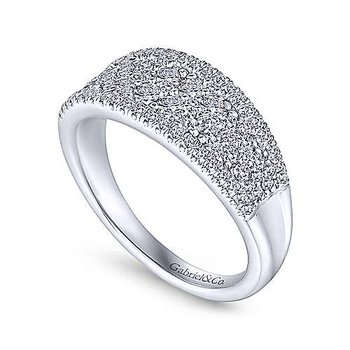 14K White Gold Curved Pave Diamond Ring