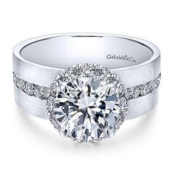 Virginia 14K White Gold Round Halo Diamond Engagement Ring