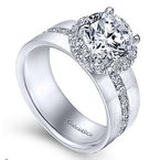Gabriel Virginia 14K White Gold Round Halo Diamond Engagement Ring