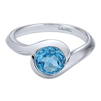 Silver Blue Topaz Bypass Ring