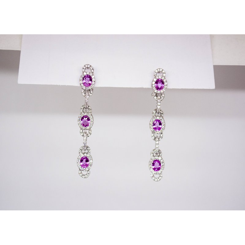 Collage Collection Pink Sapphire and Diamond Drop Earrings
