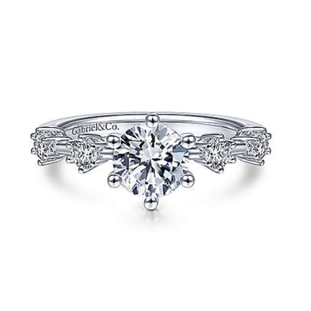 Odelia 14K White Gold Round Diamond Engagement Ring