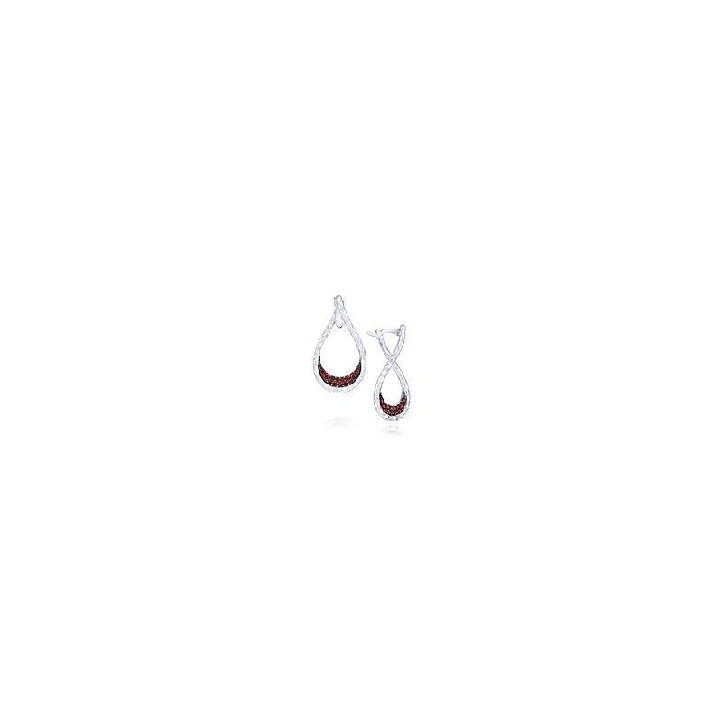 Gabriel 925 Sterling Silver Garnet Lined Pear Shaped Drop Earrings