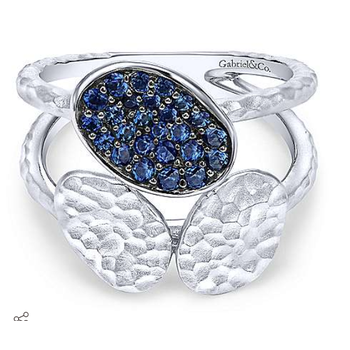 SS and Blue Sapphire disc fashion ring LR51015SVJSB