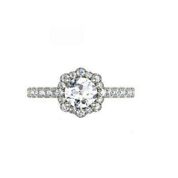 14K White Gold Diamond Engagement Ring S2674