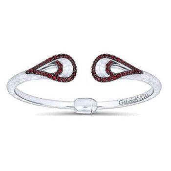 925 and garnet hinged cuff bracelet