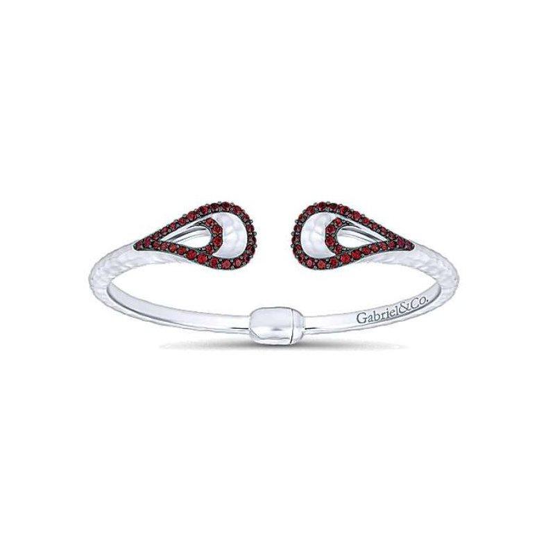 Gabriel 925 and garnet hinged cuff bracelet
