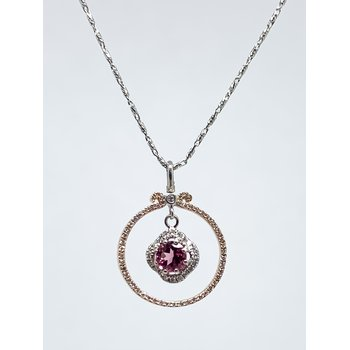 14K Rose and White Gold Pink Tourmaline Pendant
