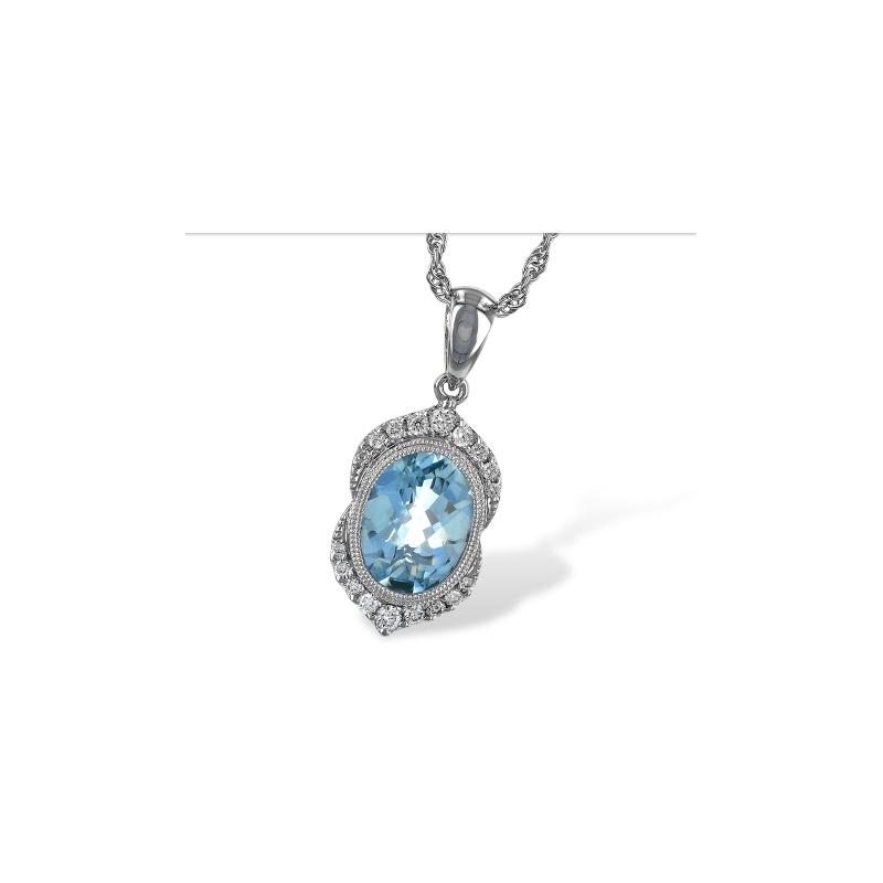 Allison-Kaufman Aquamarine and Diamond Necklace