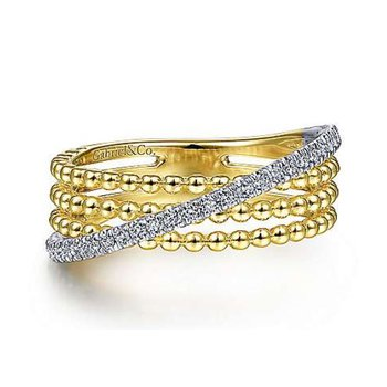 14K Gold Three Row Beaded Ring with a Diagonal Row of Pave Diamonds.