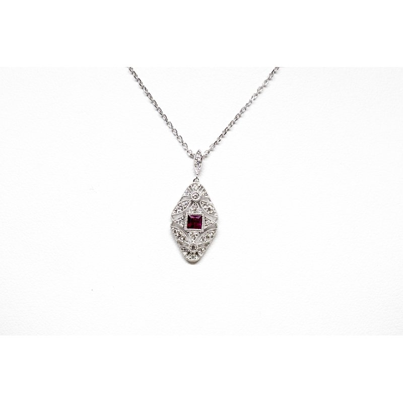 Collage Collection Vintage Ruby and Diamond Necklace